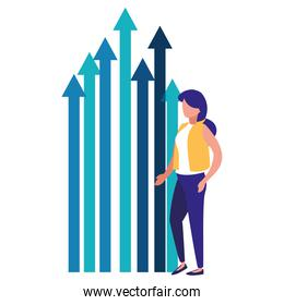 business woman and growth arrows