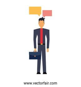 businessman with briefcase and speech bubbles
