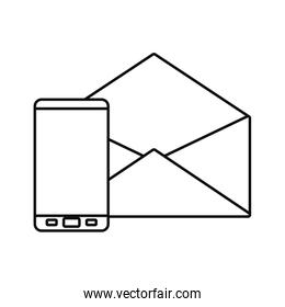 cellphone email message white background