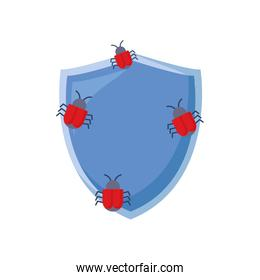 shield protection bugs virus white background