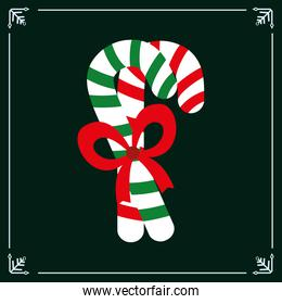 candy canes christmas green background