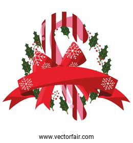 christmas candy cane wreath leaves ribbon