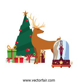 christmas tree deer nutcracker and gifts decoration