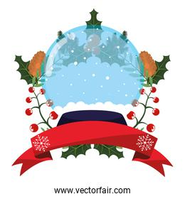 christmas snowglobe holly berry and ribbon
