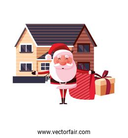 christmas santa claus with bag gifts house