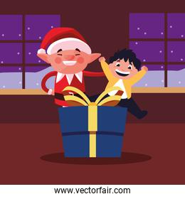 smiling christmas elf with boy and gift