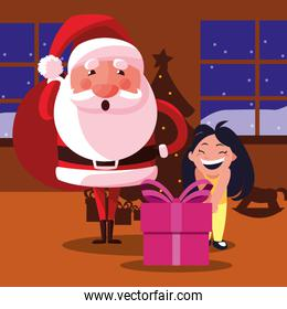 christmas santa claus with girl and gift