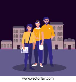 couple and young man in the city background