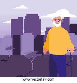old man standing in the city