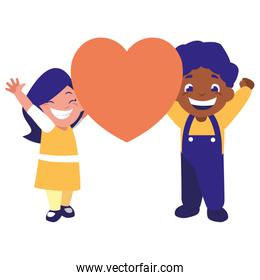 cute boy and girl holding heart