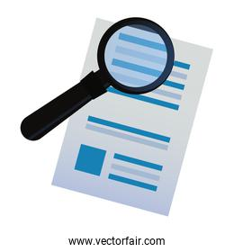 document paper magnifying glass search