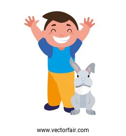 smiling boy and rabbit