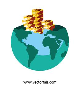 world business coins stacked