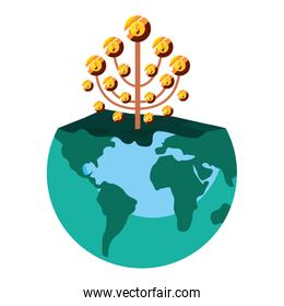 world business tree coins