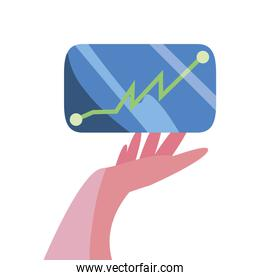 hand with cellphone diagram