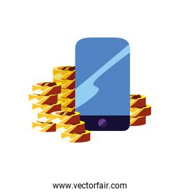 mobile coins stacked