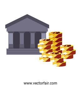 bank coins stacked