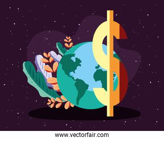 world planet with dollar symbol  and leafs
