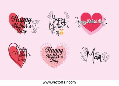 happy mothers day set letterings