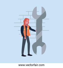 construction worker female wrench