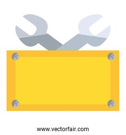 wrenches construction with yellow board