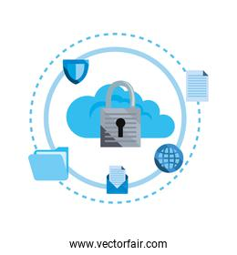 cybersecurity data protection vector ilustration vector ilustration