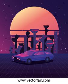 futuristic car and city vector ilustration