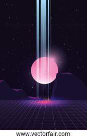 moon light retro futuristic vector ilustration