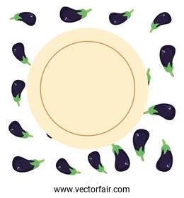 eggplant delicious fresh nutrition vector ilustration