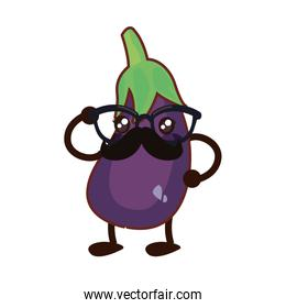 kawaii cartoon eggplant character icon vector ilustrate