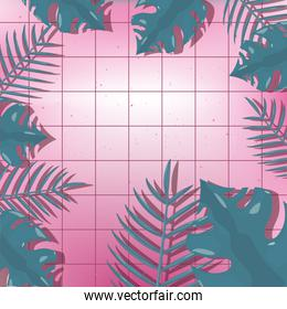 hello summer pink grid foliage leaves background