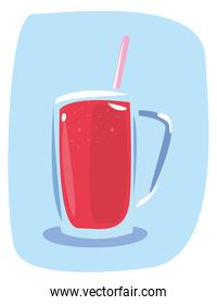 cold cocktail with straw vector ilustration