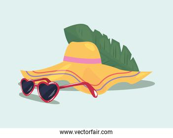hello summer sunglasses hat leaf