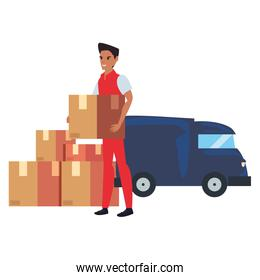 man truck fast delivery logistic icon vectorillustrate