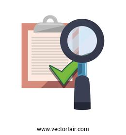 clipboard check mark magnifiying glass icon