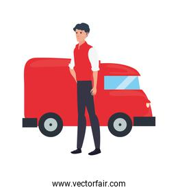 man truck fast delivery logistic