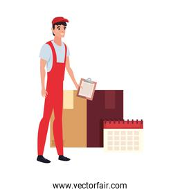 man fast delivery related icon vector ilustrate