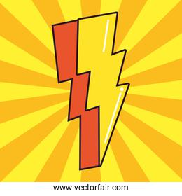 thunderbolt comic pop art on white background