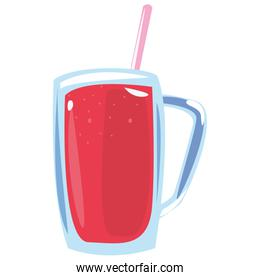 fresh juice with straw on white background