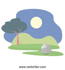 landscape forest trees botanical icon vector ilustration