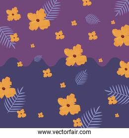 tropical exotic flower leaves vector ilustration