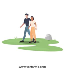 man and woman holding hands in outdoors