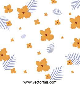 tropical exotic flower leaves icon vector ilustration