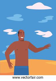 man in swimsuit in the beach summer