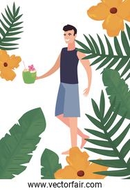 tourist man in swimsuit tropic leaves flowers summer