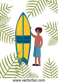 tourist man in swimsuit with surfboard tropic leaves summer