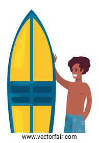 man in swimsuit with surfboard summer time
