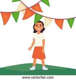 woman celebrating pennants indian happy independence day