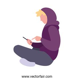 young man sitting using smartphone media