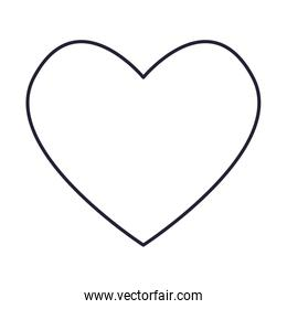 outline love heart romance white background
